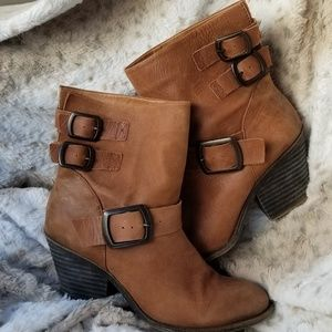 Lucky Brand distressed heeled Leather booties
